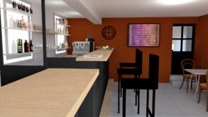 Rendu 3D d'un bar sur Riverie, en Région Auvergne Rhône Alpes